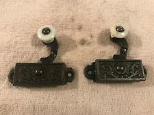 2 Old Matching Victorian Cast Iron Window Sash Parts, Porcelain Knob, Free S/H