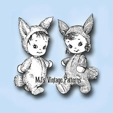 Vintage Sock Doll Pattern ~ Boy & Girl Bunny Suits