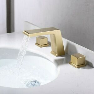 Modern Waterfall Brushed Gold 3 Hole Bathroom Basin Mixer Tap Solid Brass Faucet