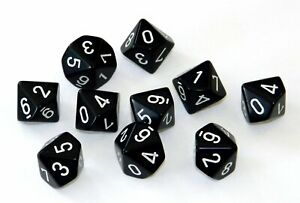 Dice and Gaming Accessories D10 Sets Opaque: D10 Black/White (10)