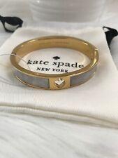 New Kate Spade HOLE PUNCH SPADE HINGE BANGLE White Gold Tone beautiful gift