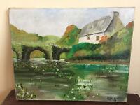 tableau ancien huile sur toile R.BRIAT (XXe-s) paysage