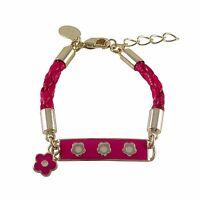 Gold Plated Hot Pink Enamel Flowers Girls ID Charm Bracelet