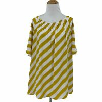 Ann Taylor Loft Blouse Womens Size XL Yellow White Stripe Pleated Mid Sleeve Top