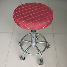 Durable Bar Stool Slipcover Round Chair Seat Cover Dustproof Wine Red