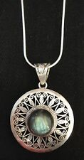 Black Moon Stone Antique Style Hand Crafted Pendent + Chain Silver 92.5 (New)
