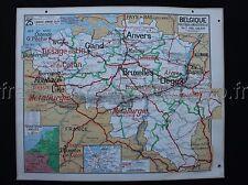 C823 Carte Scolaire vintage Belgique physique agricole industriel Lablache Déco