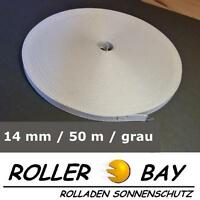 50 m Mini Rolladen Gurt 14 mm grau Rolladengurt Gurtband Rollladen