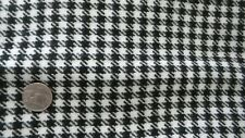 """Vintage Wool Fabric BLACK AND WHITE HOUNDSTOOTH PLAID 26""""x42"""""""