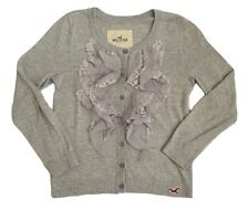 NWT Hollister Women Ruffle Lace Cardigan Sweater Size XS Sweatshirt Top Shirt