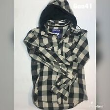 "Womens Hoodie Shirt Green Check Petroleum Size S P-P 20"" L 25"" Removable Hood"