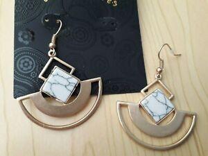 BNWT - Accessories Matt Gold/Marble Effect Deco Design Earrings Drop 5 cm
