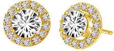 Luxury Diamante Gold Circle Zircon Bridal Wedding Party Earrings Studs E680