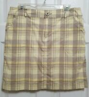 Christopher Banks Womens 8 Tennis Skort Skirt Yellow Plaid Golf Shorts Stretch