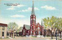 Richmond Indiana 1948 Postcard St. Johns Lutheran Church Tulare CA Cancel