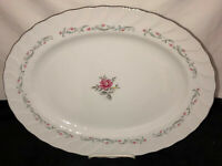 "Japan Fine China ROYAL SWIRL PINK ROSE 14 1/2"" OVAL PLATTER"