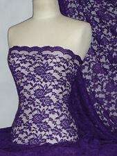 Lace Rose Design Scalloped 4 Way Stretch Lace Fabric- Purple Q723 PPL