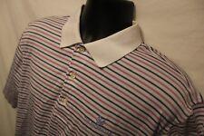 Men's Robert Trent Jones Polo Golf Trail Shirt 100% Cotton S/S Sz M White Stripe