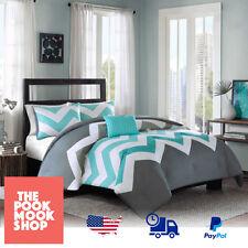 Aqua-Blue & Gray (Comforter Set Bedding Bed) Solid Reversible 3pc Chevron Design