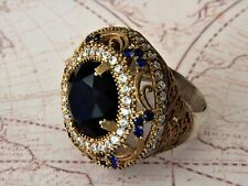TURCO Ottomano 925 Argento Sterling Sultano Gemstone anello di ametista da donna