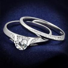 Ladies ring set sterling silver cz engagement wedding band solitaire 1carat 348