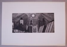 Armin Landeck 1980 Manhattan Rooftops in Moonlight Pencil Signed Etching