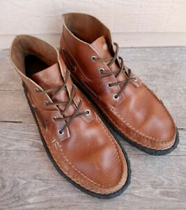 Sperry x Quoddy Boots Pecan Brown Crepe Chukka Moccasins Mens Sz 10 Rare!