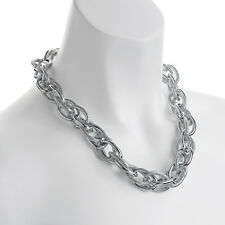 Fashion jewellery silver colour oversized textured rope chain choker necklace