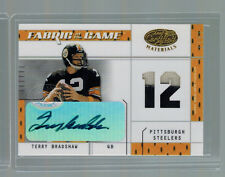 2003 TERRY BRADSHAW LEAF CERTIFIED FABRIC OF THE GAME DUAL PATCH AUTO #ED 6/12
