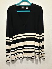 Dana Buchman Women sz L Sweater Striped Black Cream Button down V Neck Line