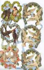 Victorian style decoupage scrap scrapbooking art projects Doves swallows birds