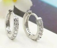 18K REAL WHITE GOLD FILLED HOOP EARRINGS MADE WITH SWAROVSKI CRYSTALS WGR1 XMAS