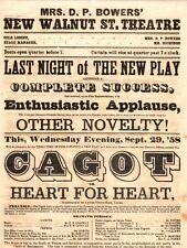 *WALNUT STREET THEATRE 1858 BROADSIDE CAGOT OR HEART FOR HEART*