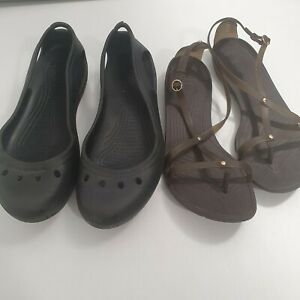 Crocs X 2 Ballet Flats And Sandals Sz 11