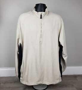 NIKE GOLF 1/2 Zip MENS XL Pullover Jacket beige black Long sleeve swoosh