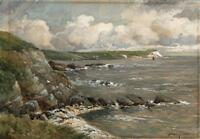 GERALD HOLMES Watercolour Painting DEVON COASTLINE SUMMERS DAY c1930