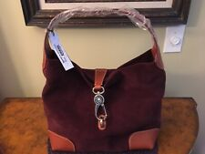 Dooney and Bourke Suede Hobo Bag - Wine with key chain