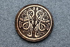 Celtic Brooch Pin Laser Engraved Jewelry Birch Wood 2 DRAGONS NEW #113