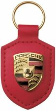 Porsche Crest Keyring Key Chain Leather Red New in Plastic Packaging