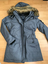 New Abercrombie Womens Water Resistant Fur Hooded  Parka Jacket Coat Grey Size M