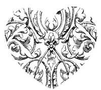 Unmounted Rubber Stamp Etched Heart - 7036