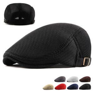 Mens Beret Flat Hats Ivy Newsboy Mesh Gatsby Baker Cabbie Casual Driving Caps
