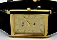 seiko quartz mens gold plated golden dial japan made rectangle shape watch run