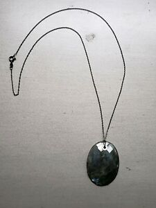 """Clyde Duneier Faceted Large Labradorite Pendant on 20"""" Sterling Chain Necklace"""