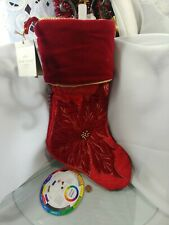 1 Hallmark Heritage Stocking Red Gold Brocade Xmas Poinsettia Velvet Cream New