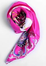 """UScarmen Women's 100% Pure Silk Square Scarf 34"""" x 34"""" 02004 PINK Floral"""