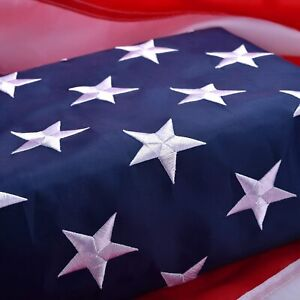 American Flag 3x5 ft Outdoor US Flag UV Protected Embroidered Stars Sewn Stripes
