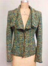 Lafayette 148 Multicolor Drape Collar Fantasy Tweed Jacket Blazer Size 8 $698
