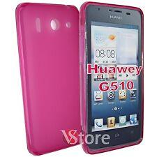 Cover Custodia Per Huawei Ascend G510 Silicone Gel Fucsia Opaco + Pellicola