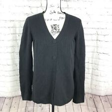Vince Size L 100% Cashmere Button Front Cardigan Sweater Black Gathered Collar